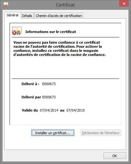 Installer le certificat